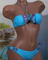 Купальник подростковый модный для девочки, голубой