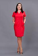 Красивое летнее платье офисного стиля с вырезом на груди материал лен