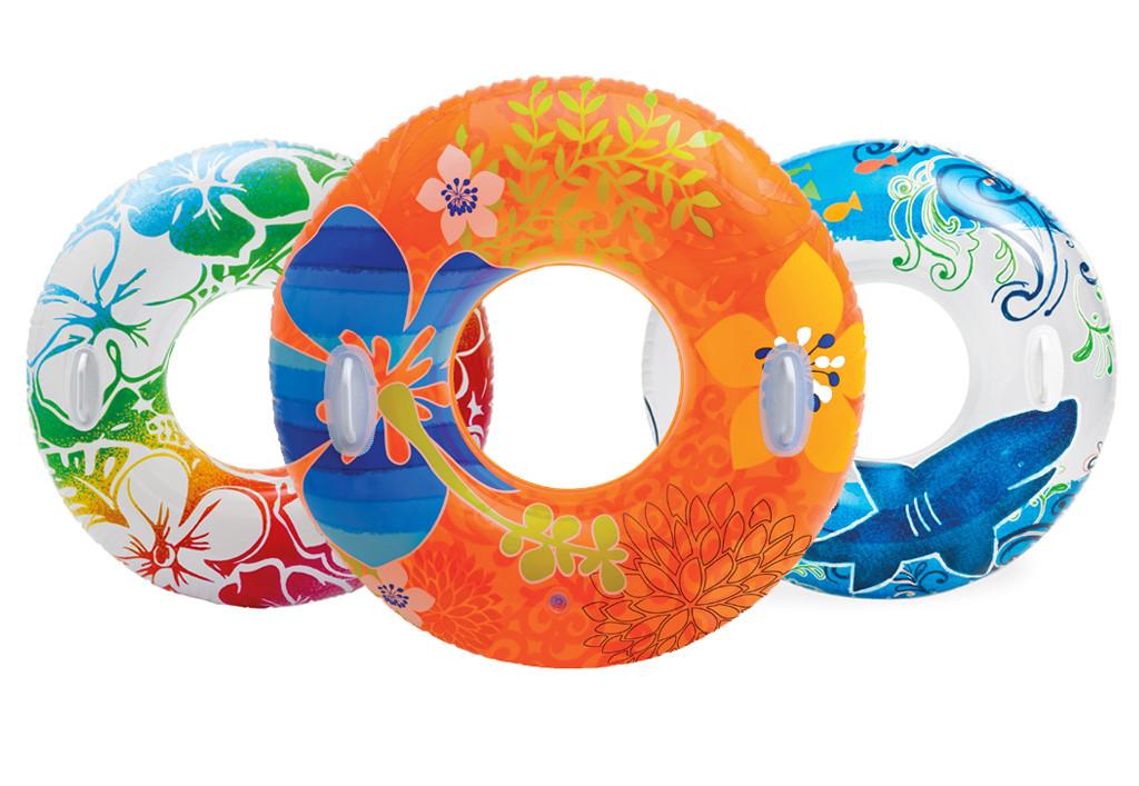 Надувной круг прозрачный с ручками Пестрый Intex 58263