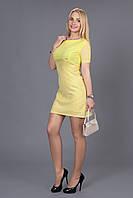 Яркое коктейльное платье из костюмной ткани драпированное  органзой