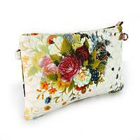 Белая сумочка-клатч женская Valensiy с цветами, фото 1