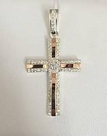 Крестик серебряный с накладками золота