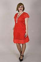 Элегантное красное платье из натуральной ткани