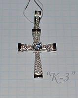 Крестик серебряный с накладками золота, фото 1