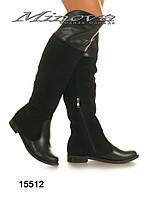 Ботфорты №15512-черный замш+кожа