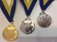 """Медаль """"Настольный теннис"""" диаметр 5 см.  с ленточкой"""