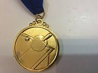 """Медаль """"Настольный теннис"""" диаметр 5 см.  с ленточкой, фото 1"""