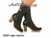 Сапоги ЦГ№15557-черный+мутон кожа