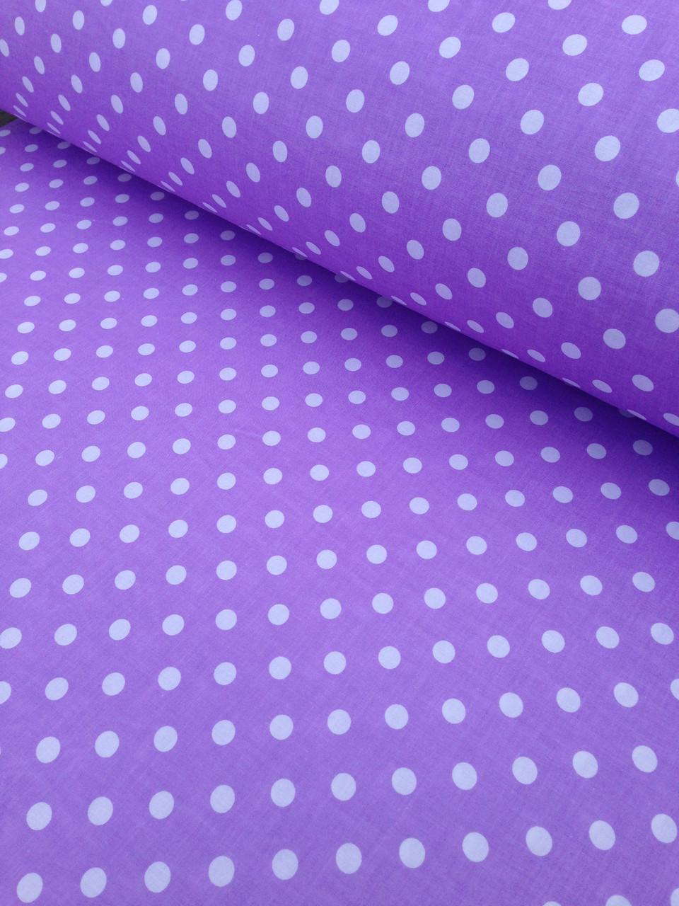 Хлопковая ткань польская белый горох на фиолетовом 1 см