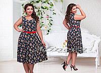 Платье №00139-темно синий+красные цветы