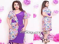 Платье №174-фиолетовый+цветы