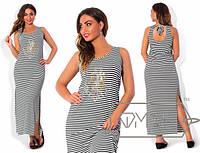 Полосатое длинное летнее платье большого размера (2 вида) i-1515650