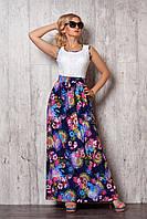 Удобное длинное платье-сарафан выполнено из гипюровой кофточки и легкой шелковой юбки