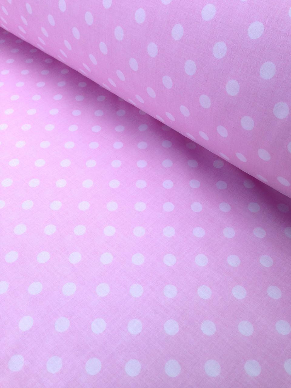 Хлопковая ткань польская горох крупный на розовом 10 мм (1см)