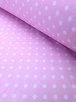 Хлопковая ткань польская горох крупный на розовом 10 мм
