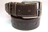 Ремень кожаный 'UniversalBrown' 40 мм коричневый с узором