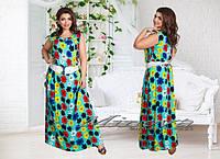 Платье П№330(ш.д)-бирюза+цветы