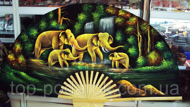 Веер настенный бархатный Слоны размер 155*100