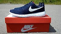 Мужские кроссовки Nike Roshe Run темно-синие в коробке, фото 1