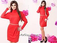 """Платье №3047-""""Victoria Beckham цепочка""""-красный"""