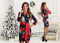 Платье №3061-тем.синий+красный+цветы