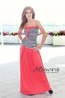 Платье №2040-розовый+полоска