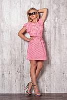 Красное молодежное платье на каждый день из штапеля в мелкий цветочек
