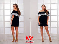 Платье БАТАЛ Мемори с кружевом мулине цвет чёрный