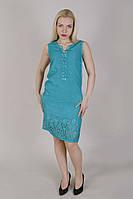 Модное хлопковое платье в бирюзовом цвете