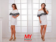 Платье БАТАЛ Мемори с кружевом мулине цвет белый