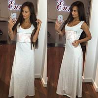 Платье №21 макси вышивка пайеткой цвет белый