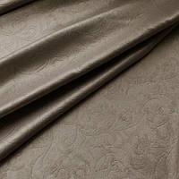 Портьерная ткань блекаут оттиск  завиток, цвет темный беж