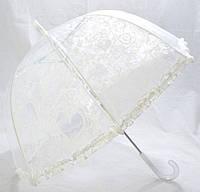 Зонт трость детский прозрачный Цветы с Рюшкой 001-4