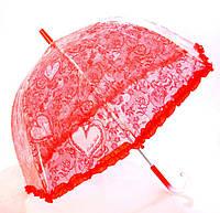 Зонт детский прозрачный Цветы с Рюшкой 001-1