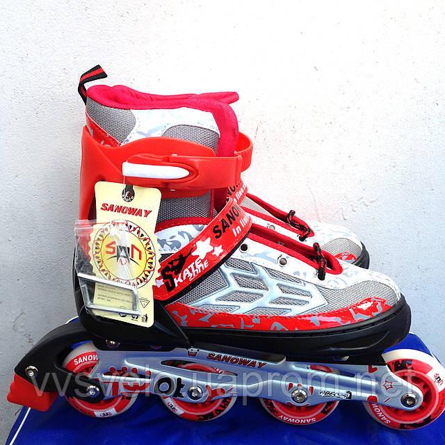 Роликовые коньки Sanoway in line skate 39-42 роздвижные красные
