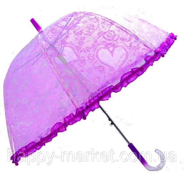 Зонт детский прозрачный Цветы с Рюшкой 001-3