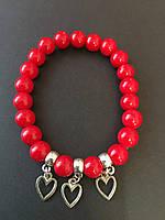 Браслет из Красного коралла с талисманом Сердце