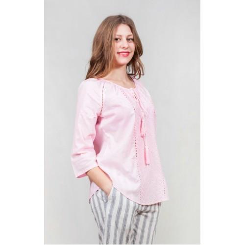 Свободная летняя блуза из хлопка с декоративными строчками
