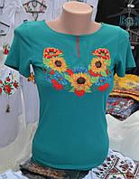 """Жіноча вишита футболка """"Соняшник"""" бірюзова"""