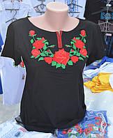 """Жіноча вишита футболка """"Троянда"""" чорна"""