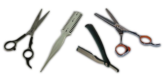 Ножницы для стрижки, бритвы.