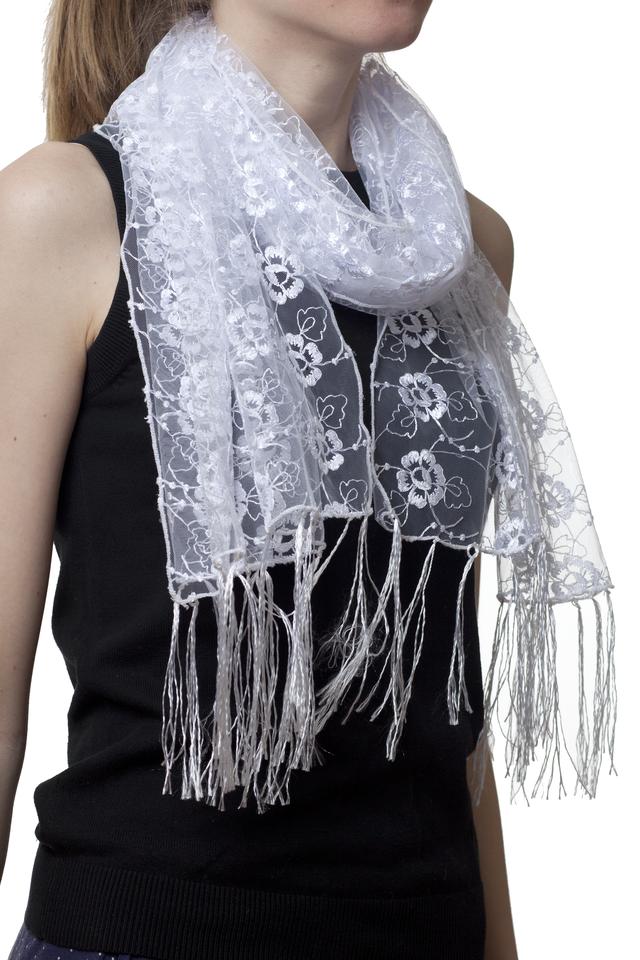 Свадебный шарф белый рима 1