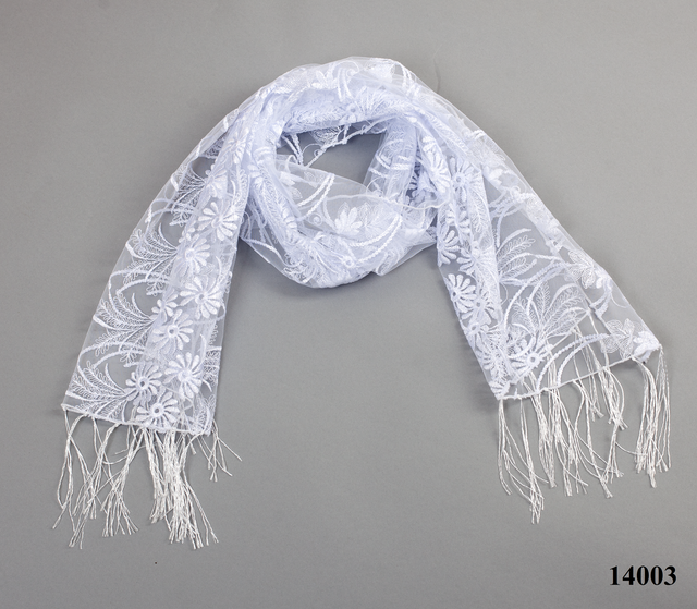 Свадебный шарф белый астра 3