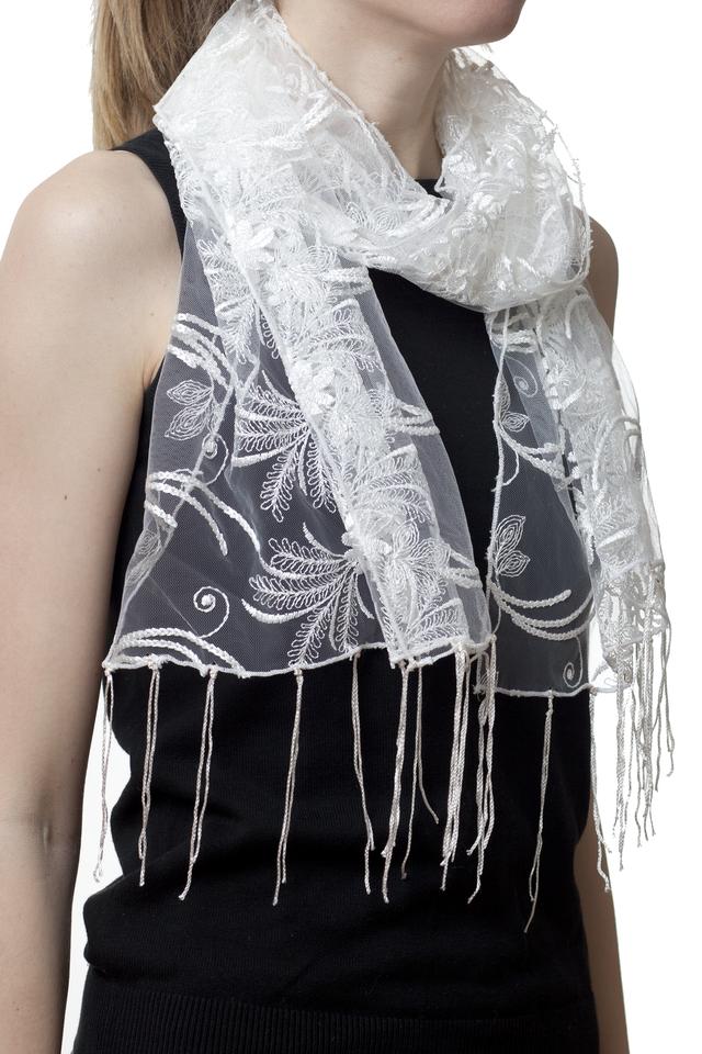 Свадебный шарф бежевый астра 1