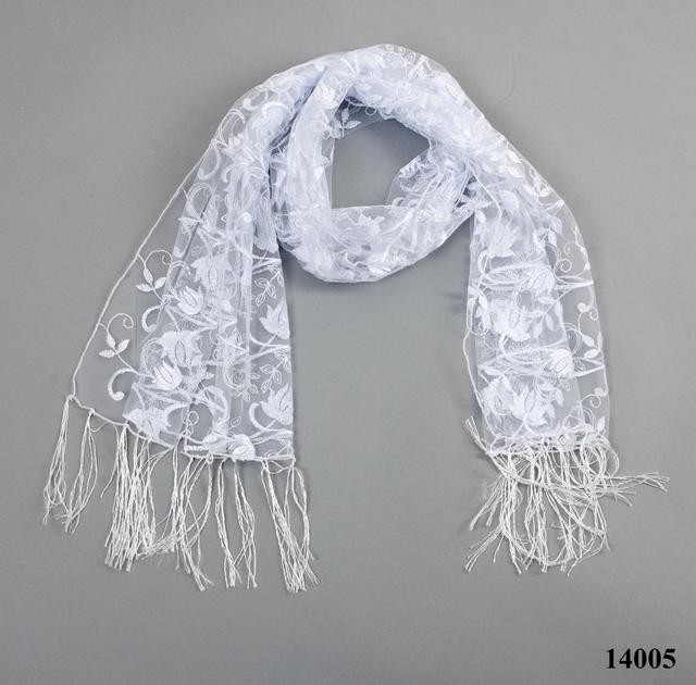 Свадебный шарф белый тюльпанчик 3