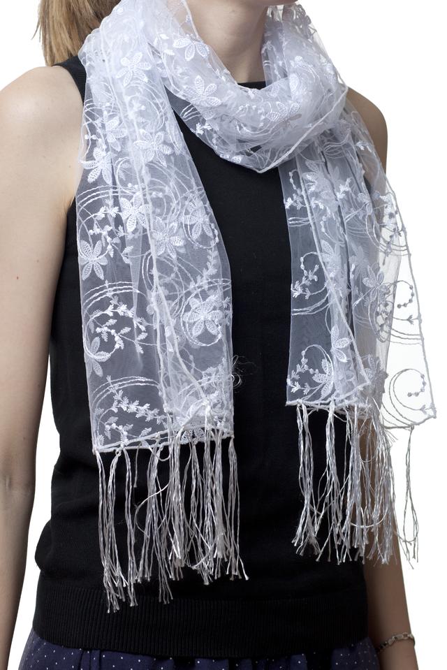 Свадебный шарф белый нежность 1