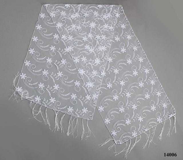 Свадебный шарф белый нежность 2