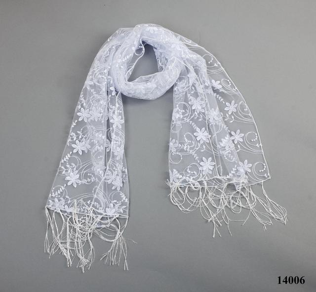 Свадебный шарф белый нежность 3