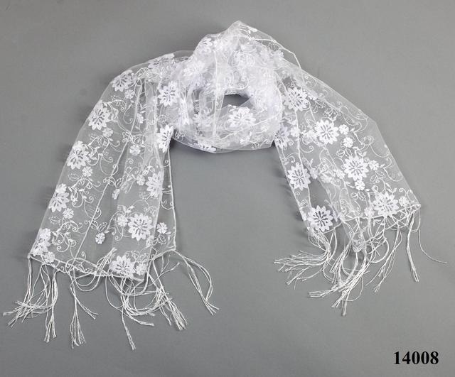 Свадебный шарф белый красотка 3