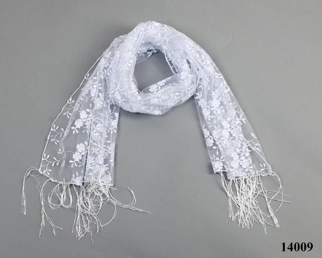 Свадебный шарф белый бутончик 3
